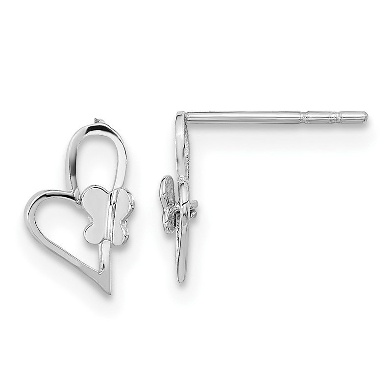 Quality Gold 14k White Gold Madi K Heart W/Butterfly Post Earrings