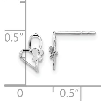 14k White Gold Madi K Heart W/Butterfly Post Earrings