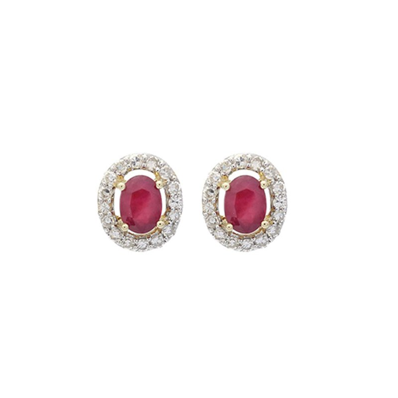 Gems One Diamond Halo and Ruby Prong Set Earrings in 10K White Gold (1/100 ct. tw.)