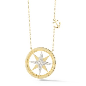 "14K compass rose set with 60 diamonds T.W 0.20ct. 1"" diameter, small anchor 1/3"" long"