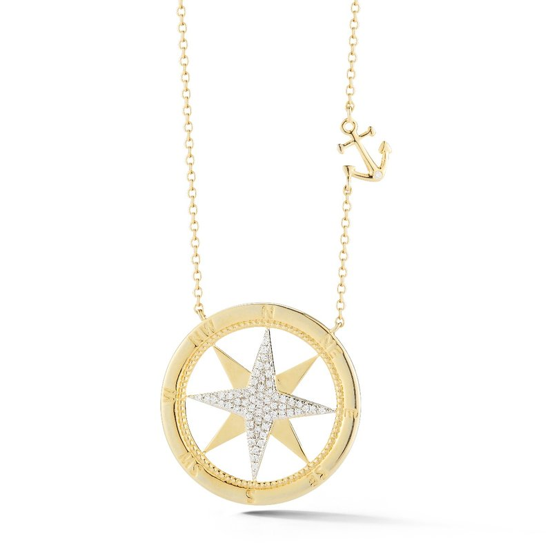 "Shula NY 14K compass rose set with 60 diamonds T.W 0.20ct. 1"" diameter, small anchor 1/3"" long"