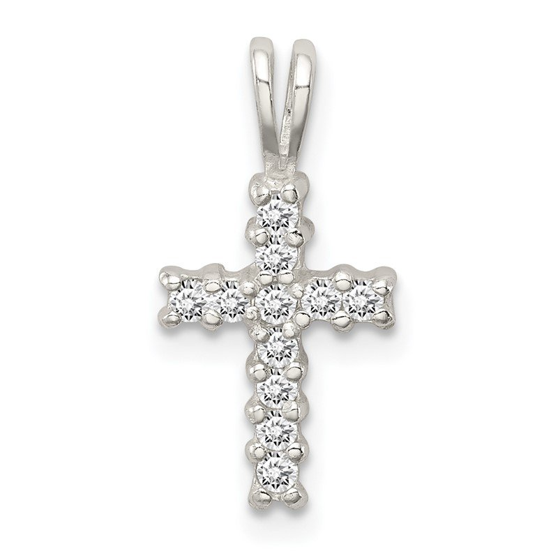 Sterling Silver Polished Synthetic CZ Cross Pendant QC8211