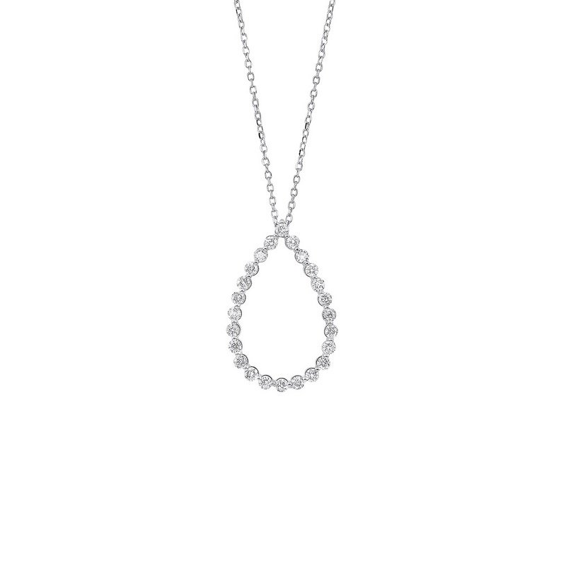Gems One Diamond Eternity Teardrop Pendant Necklace in 14k White Gold (1/2ctw)