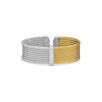 Grey & Yellow Cable Medium Colorblock Cuff with 18kt White Gold & Diamonds