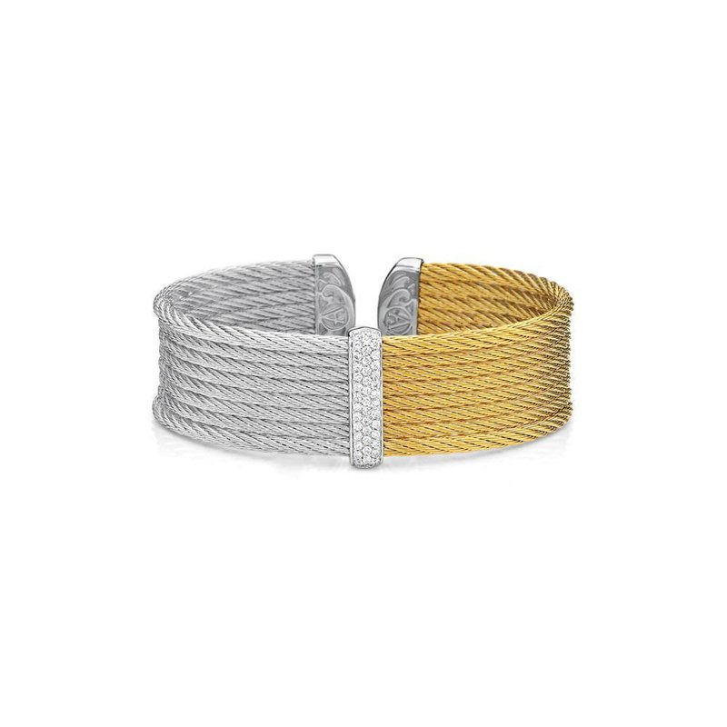 ALOR Grey & Yellow Cable Medium Colorblock Cuff with 18kt White Gold & Diamonds
