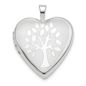 14K White Gold 20mm Tree Heart Locket