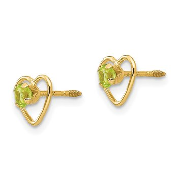 14k Madi K 3mm Peridot Birthstone Heart Earrings