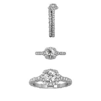 .75 CTW Cascade Cushion Halo Ring w/ RD center