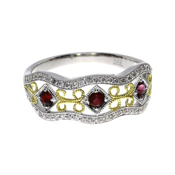 14k White Gold Two Tone Ruby and Diamond Filigree Band