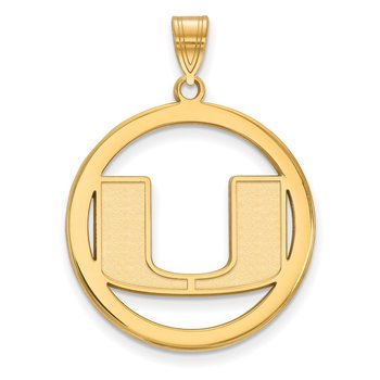 Gold-Plated Sterling Silver University of Miami NCAA Pendant