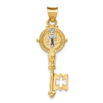14k with Rhodium Cross Key Pendant