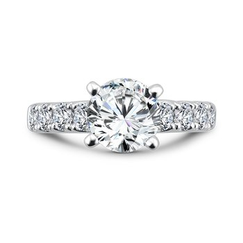 Diamond Engagement Ring With Side Stones in 14K White Gold with Platinum Head (2ct. tw.)