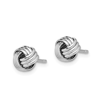 Sterling Silver Rhodium-plated Triple Knot Post Earrings