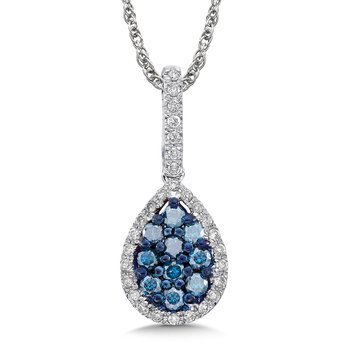 Pave set Blue and White Diamond Drop Shaped Pendant, 14k White Gold  (1/2ct. dtw.)