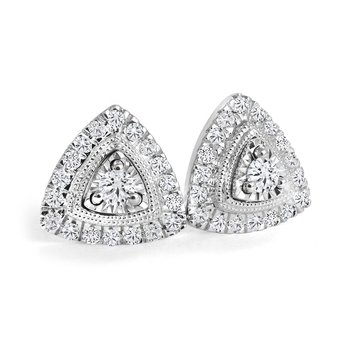Triangular Diamond Accent Earrings