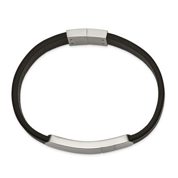 Stainless Steel Brushed and Polished Black Leather 8.5in ID Bracelet