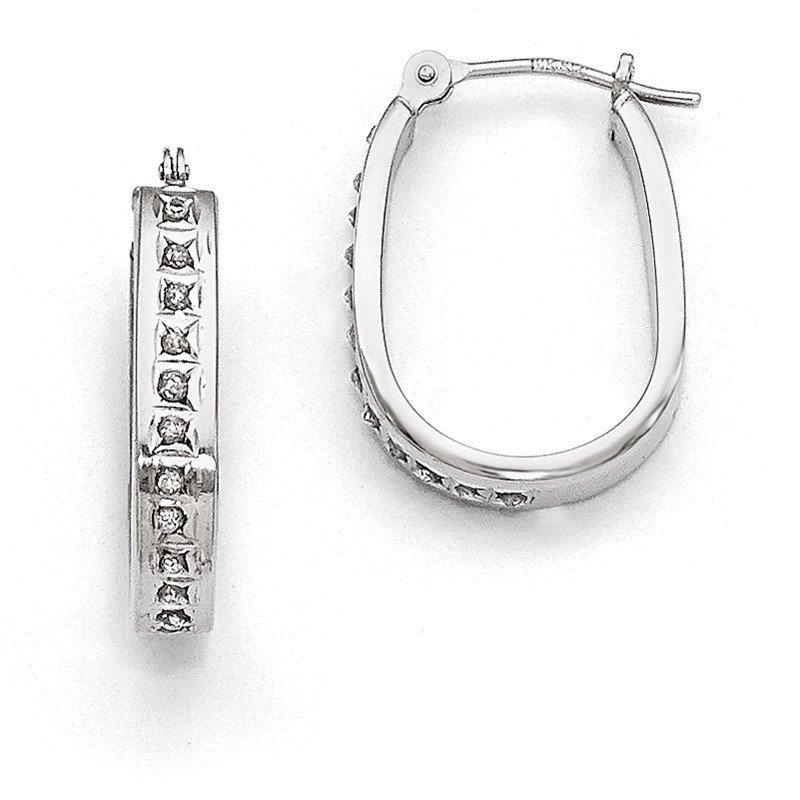 Quality Gold 14k White Gold Diamond Fascination Squared Hinged Hoop Earrings