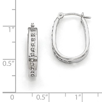 14k White Gold Diamond Fascination Squared Hinged Hoop Earrings