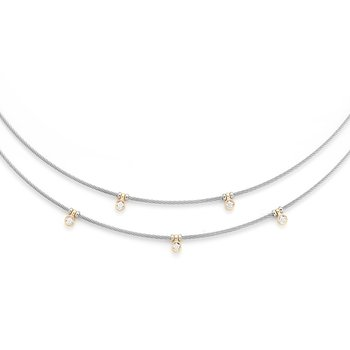 Grey Cable Layered Necklace with 18kt Yellow Gold & Diamonds
