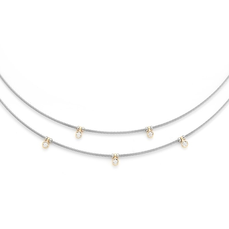 ALOR Grey Cable Layered Necklace with 18kt Yellow Gold & Diamonds