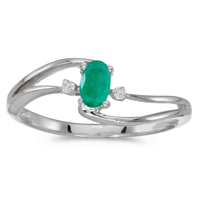 Color Merchants 10k White Gold Oval Emerald And Diamond Wave Ring