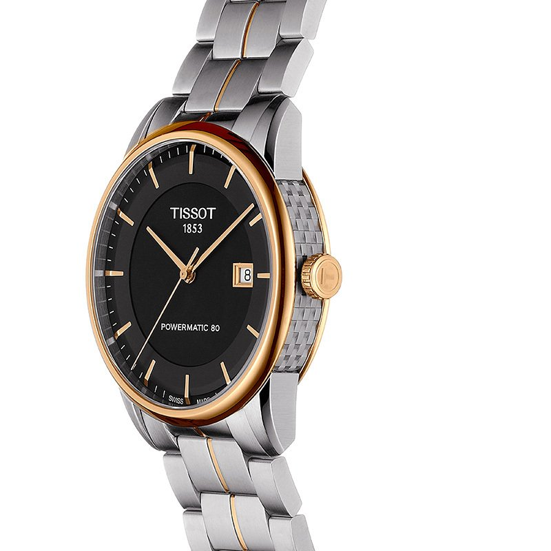 Tissot Luxury Automatic Men's Two-tone Stainless Steel Black Watch