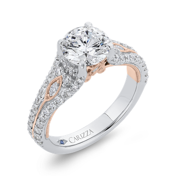 14K Two-Tone Gold Round Cut Diamond Engagement Ring (Semi-Mount)