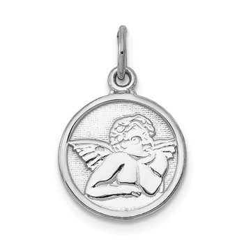 14k White Gold Polished Angel Charm
