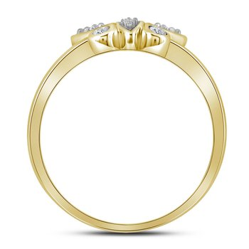 14kt Yellow Gold Womens Round Diamond Butterfly Bug Fashion Ring 1/10 Cttw