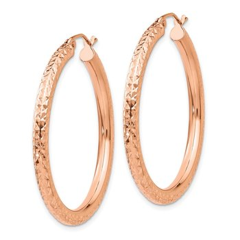 14k Rose Gold Diamond-cut 3mm Round Hoop Earrings