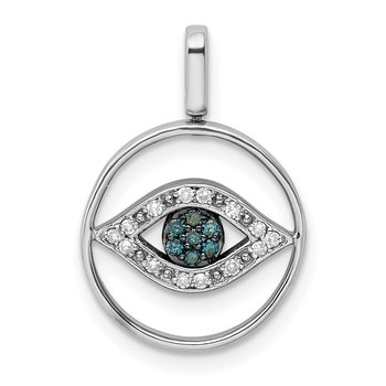 Sterling Silver Rhodium 0.2ct. Blk, Wht & Blue Dia. Reversible Eye Pendan