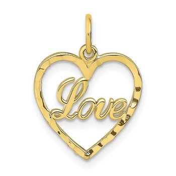 10K Polished LOVE Heart Pendant