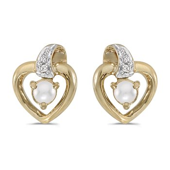 10k Yellow Gold Pearl And Diamond Heart Earrings