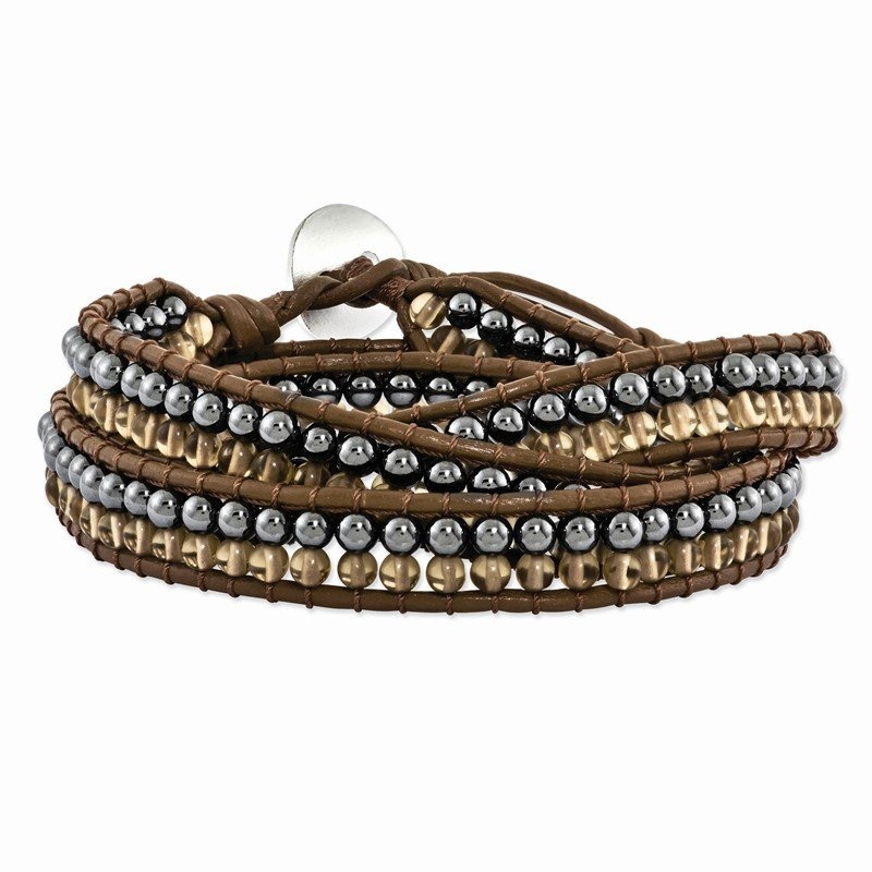 Quality Gold Hematite and Smoky Quartz Bead and Leather Multi-wrap Bracelet