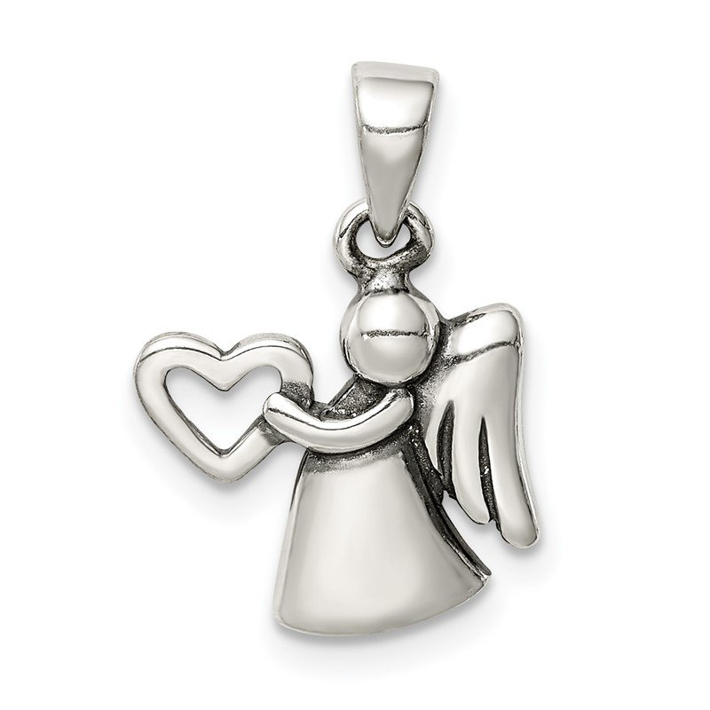 Quality Gold Sterling Silver Antiqued Angel with Heart Pendant