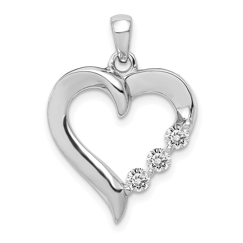 Quality Gold 14k White Gold Three Stone 1/4ct. Diamond Heart Pendant