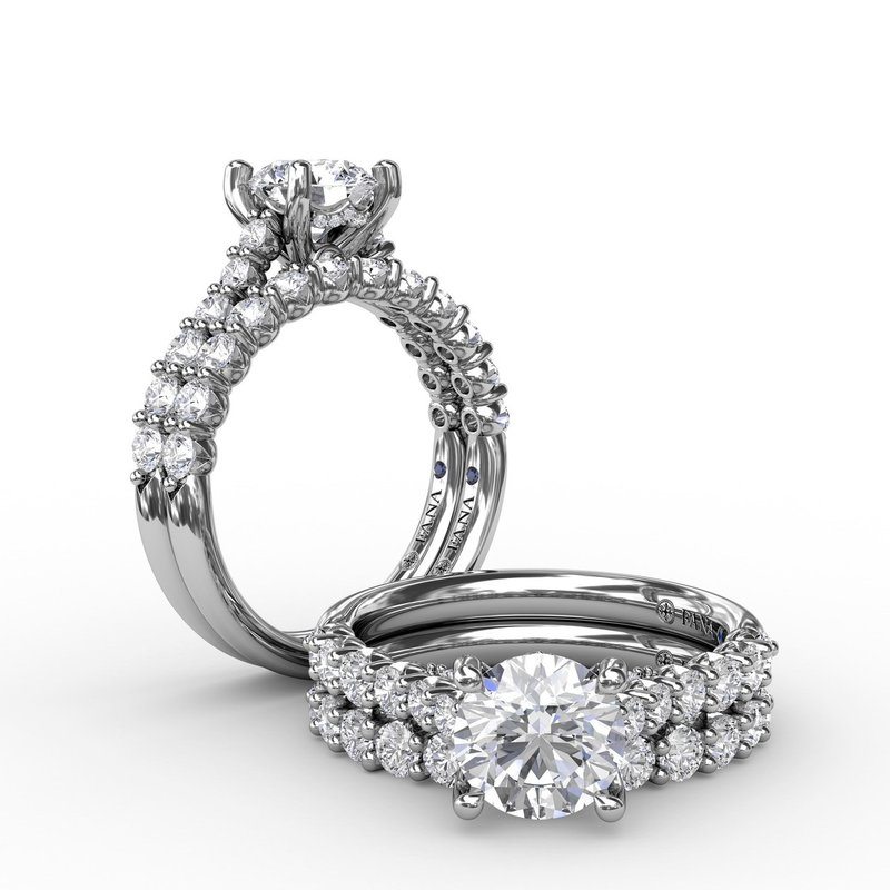 Fana Contemporary Diamond Solitaire Engagement Ring With Hidden Halo