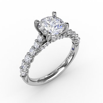 Contemporary Diamond Solitaire Engagement Ring With Hidden Halo