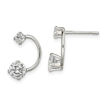 Sterling Silver Polished CZ Half-Circle Post Earrings