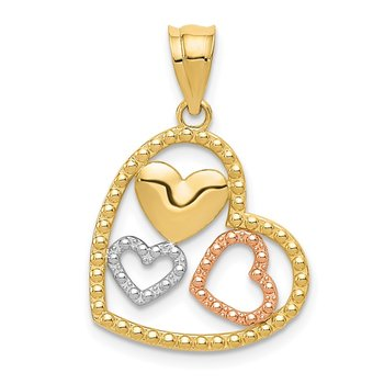 14K Two-tone w/White Rhodium Polished Hearts Pendant
