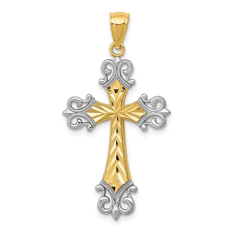 Quality Gold 14k w/Rhodium Diamond/cut Cross Pendant