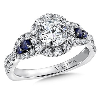 Diamond & Blue Sapphire Halo Engagement Ring Mounting in 14K White/Rose Gold (.60 ct. tw.)