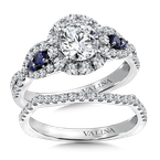 Valina Diamond & Blue Sapphire Halo Engagement Ring Mounting in 14K White/Rose Gold (.60 ct. tw.)