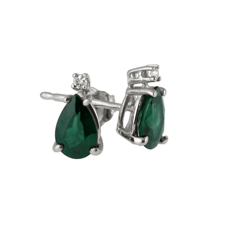 14k White Gold  Pear Shaped Emerald And Diamond Earrings