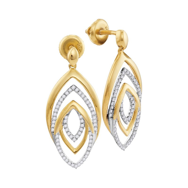 Gold-N-Diamonds, Inc. (Atlanta) 10kt Yellow Gold Womens Round Diamond Dangle Earrings 1/3 Cttw