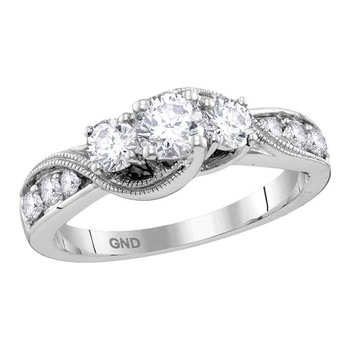 14kt White Gold Womens Round Diamond 3-stone Milgrain Bridal Wedding Engagement Ring 1.00 Cttw