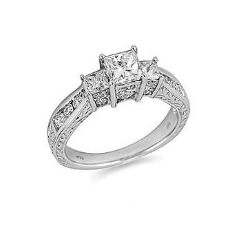 14K WG Dia Three Stone Princess  Center Engagement  Ring