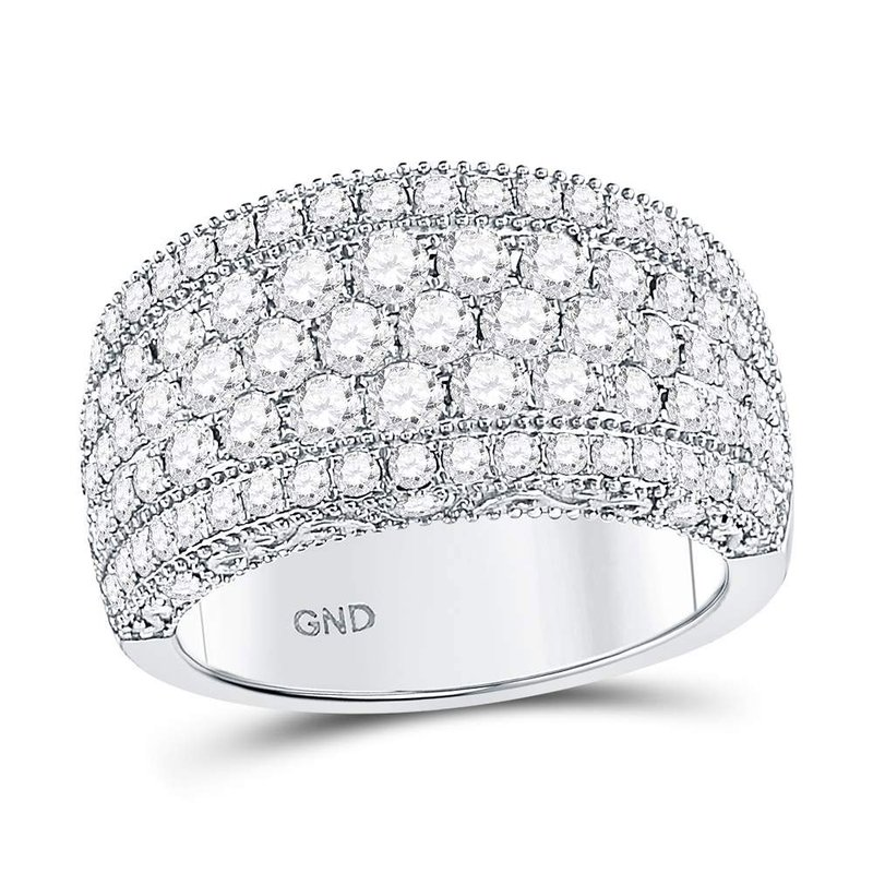 Gold-N-Diamonds, Inc. (Atlanta) 14kt White Gold Womens Round Diamond Pave Groove Band Ring 2.00 Cttw