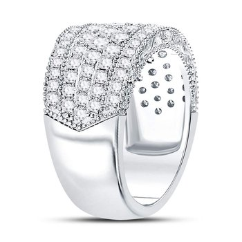 14kt White Gold Womens Round Diamond Pave Groove Band Ring 2.00 Cttw