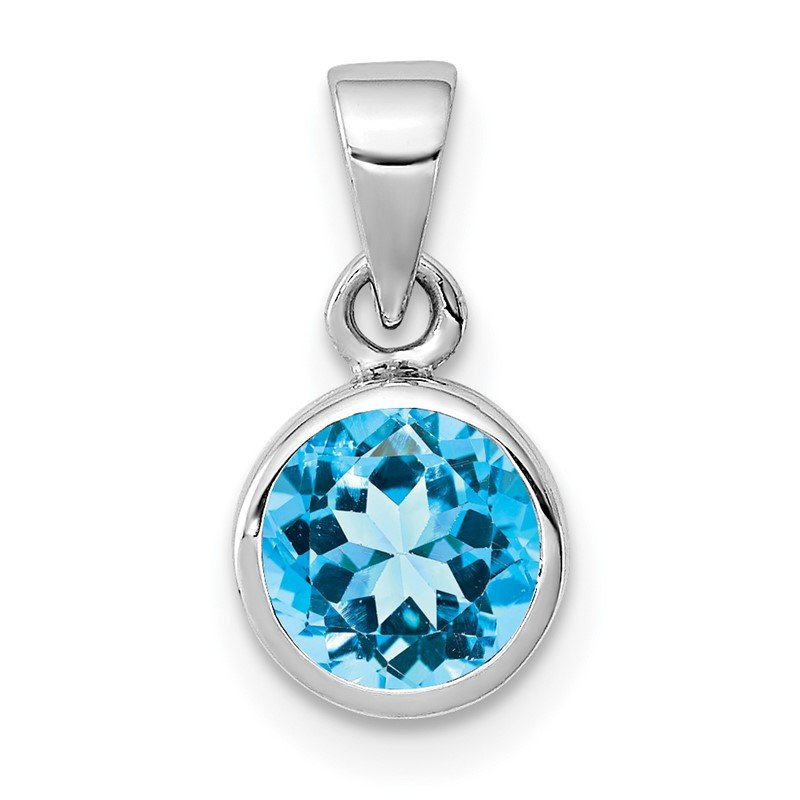 Quality Gold Sterling Silver Rhodium-plated Polished Blue Topaz Round Pendant